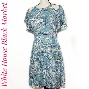 Whbm cold shoulder Paisley dress